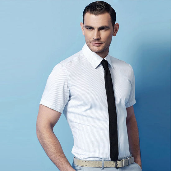New Men's Brand Solid Color Slim Fit Short Sleeves Business Dress Shirt