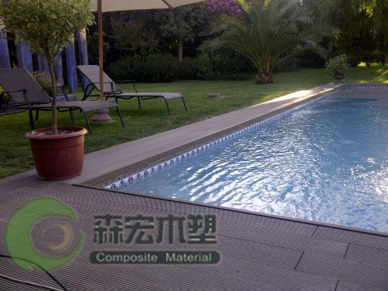 Outdoor Swimming Pool Floor Waterproof WPC Decking
