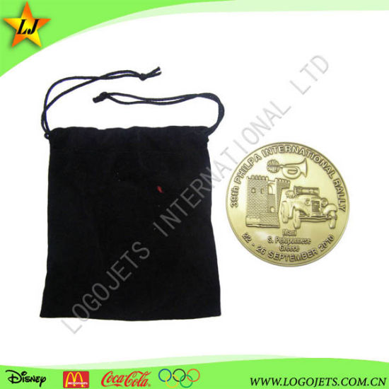 Colorless Old School Custom Gold & Cooper Plating Coin 3D Design with Velvet Bag pictures & photos