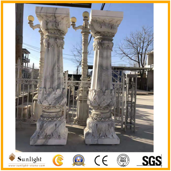 Top Quality Hand Carved White/Yellow Marble Sandstone Column for Building and Decoration