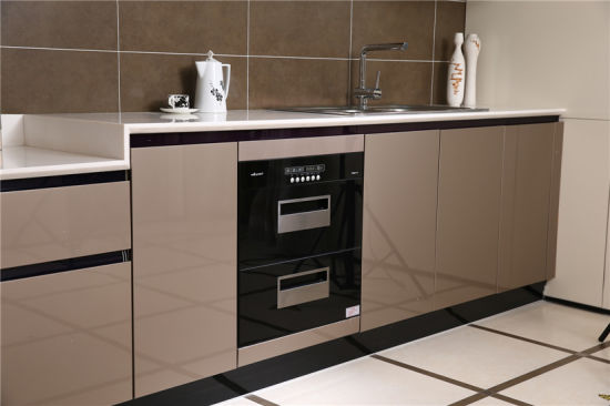Welbom Invisible Handle High Gloss Finish Modern European White Kitchen Cabinet