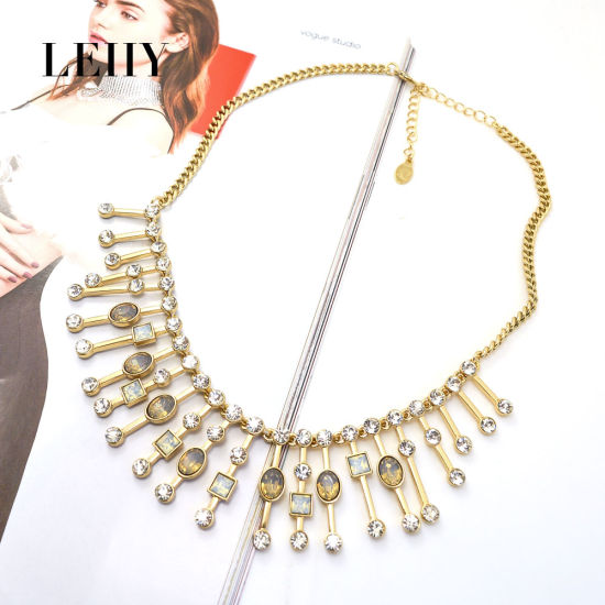 Fashion Gold-Tone Hot Design Glass Casting Custom Jewelry Choker for-Women pictures & photos