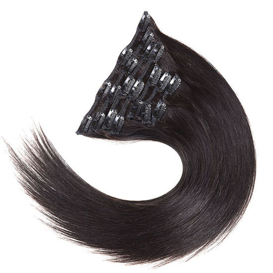 Bhf Brazilian Virgin Hair Clip in Human Hair Extension 100g 120g 140g 160g Brazilian Straight Human Hair Clip Ins 14-24inches pictures & photos