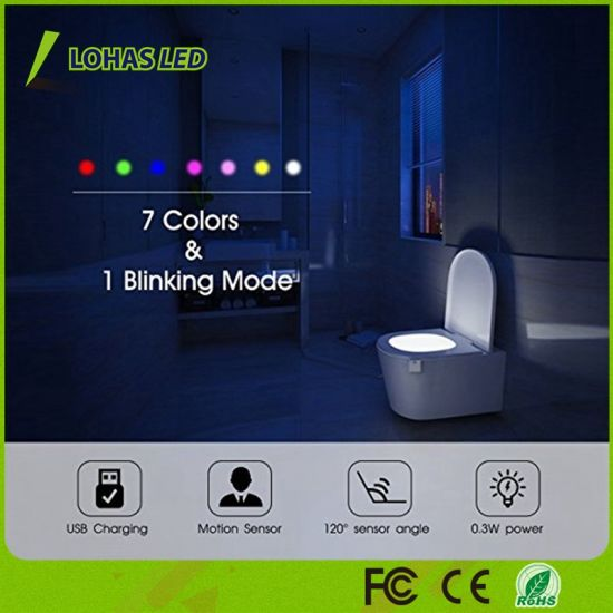 Home & Garden Cooperative Rechargeable 16 Colors Led Toilet Light Motion Detection Bathroom Night New