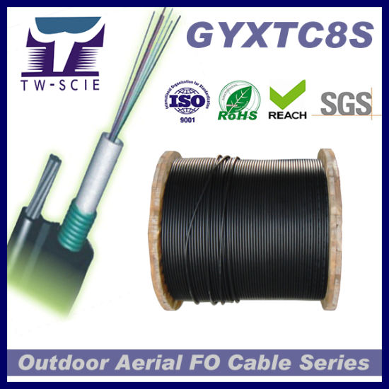 2-12cores Aerial Steel Messenger Optical Fiber Cable (GYXTC8S) pictures & photos