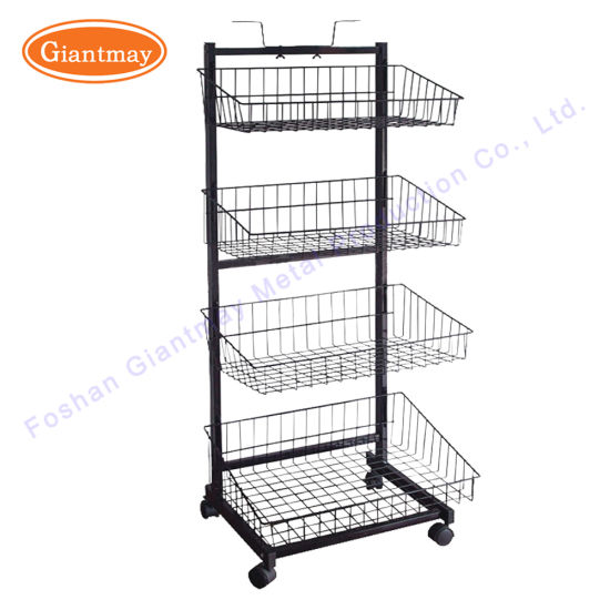 Cheap Wire Wrought Iron Display Hanging Metal Storage Basket Stand Racks  With Wheels