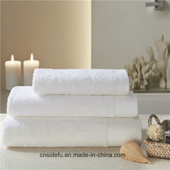 Wide Dobby Border White Hotel 100 Egyptian Cotton Bathroom Bath Towel pictures & photos