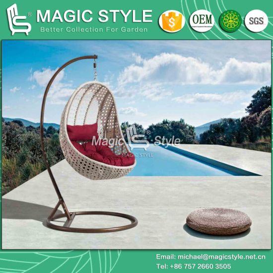Outdoor Wicker Hammock With Cushion Patio Wicker Swing Rattan Weaving Swing  Garden Rattan Hanging Chair Wicker Weaving Balcony Swing