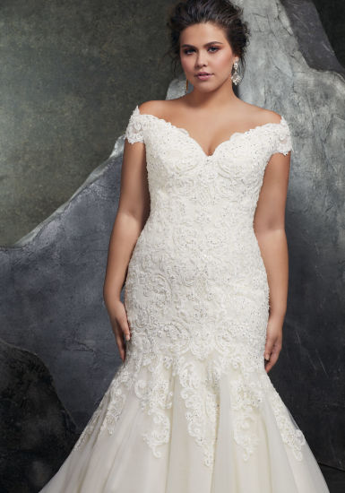 China Off Shoulder Bridal Gowns Plus Size Lace Appliques Custom