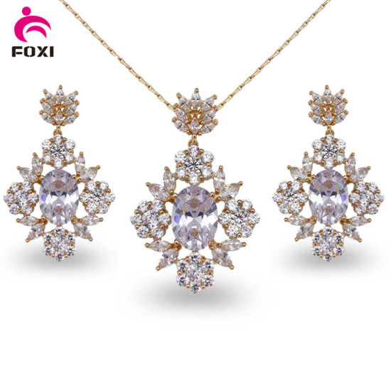China Colorful Dubai Bridal 18k Gold Plated Zirconia Necklace and