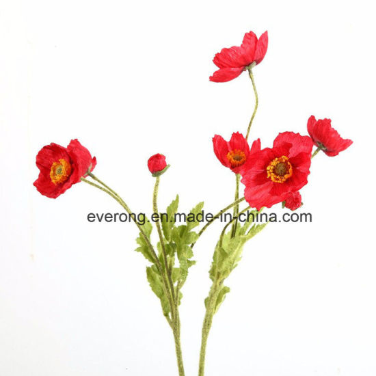 China new design artificial poppy red poppy with 3 flowers heads red new design artificial poppy red poppy with 3 flowers heads red color artificial poppyflowers for sale mightylinksfo