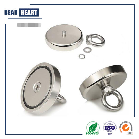 500lbs Pulling Force Magnetic N52 Super Big Round Neodymium Fishing Magnet with M10 Eyebolt Countersunk Hole Diameter 90mm