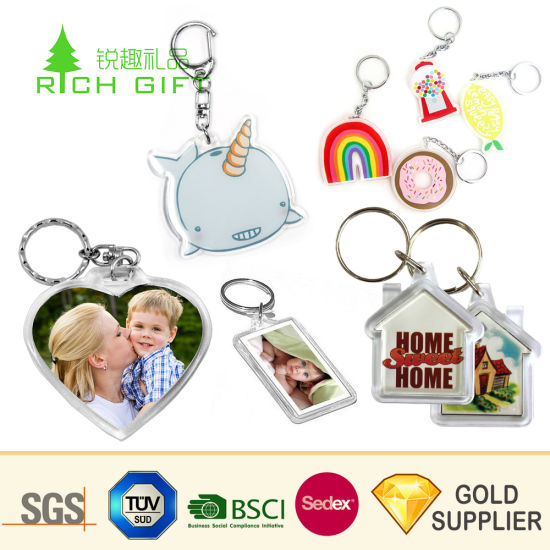 Wholesale Promotion Personalized Clear Blank Acrylic Key Chain Fashion Anime Crystal Photo Frame Printed Custom Logo Plastic Acrylic Keychain for Souvenir Gift pictures & photos