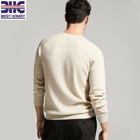 YYear Mens Crewneck Long Sleeve Ribbed Cable Knit Basic Pullover Sweater