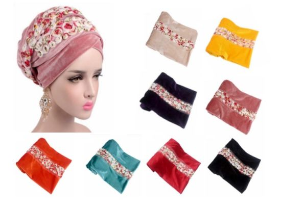 Fashion Turban Women's Head Wrap Cap with Flowers