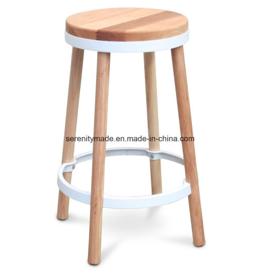 Commercial restaurant Round Wooden Counter Height kitchen Stool with  Footrest
