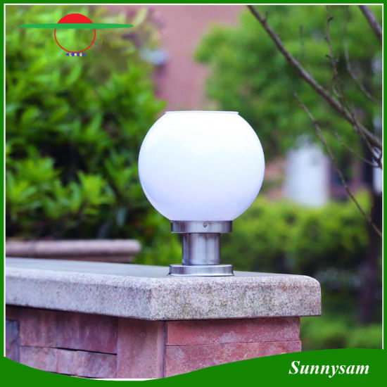 Outdoor Waterproof I Watt Light Sensor Ball Shape Solar Pillar Gate Lamp  For Gate Garden Courtyard Decoration