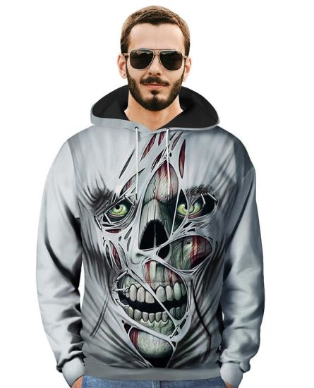 Skull 3D Printed Hat Hooded Sweater