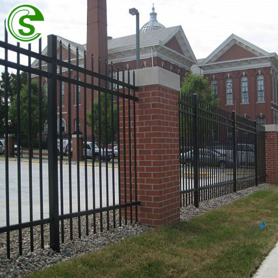 Used Crimped Spear Tubular Fencing Panels Metal Yard Guard Fence for School