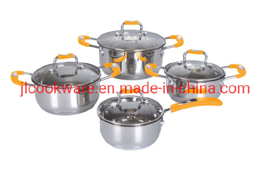 8 PCS Apple Shape Cookware Sets with Silicon Handle