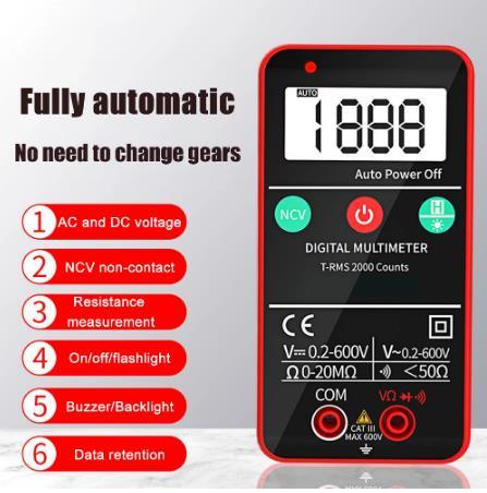 Touch Screen Multimeter Automatic Digital Multimeter Ncv Non Contact AC DC Voltage Current Measurement Meter with Flashlight