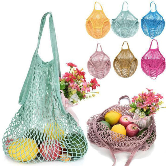 High Quality Eco Friendly Foldable Portable Reusable Ecological Cotton Mesh Net Shopping Bags