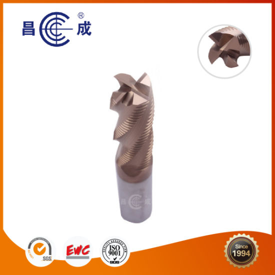 Tungsten Carbide Roughing 4 Flutes End Mill for Cutting Aluminum Groove