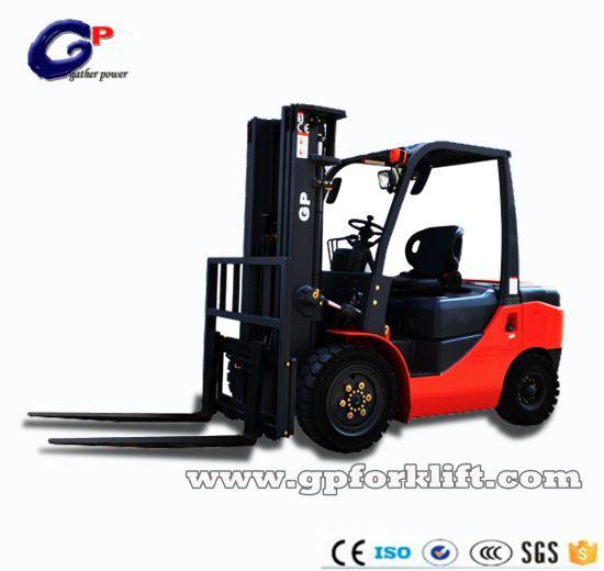 Gp High Quality Diesel Power 2ton 3ton 4ton 5ton 7ton 10ton 25ton 3m 4.5m 6m Triplex Mast Fork Lifter Forklift Truck for 2500kg Capacity (CPCD15-CPCD100)