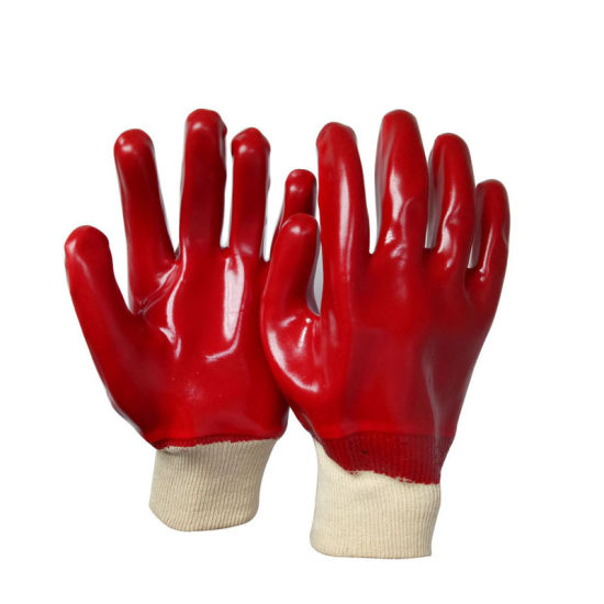 Red PVC Coated Knit Wrist Rubber Gloves Safety Work Glove Size XL