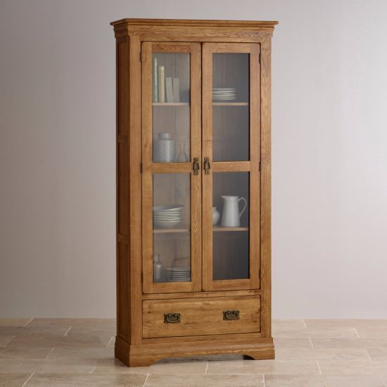 Rustic Vintage Oak Solid Wood Glass Front Display Cabinet