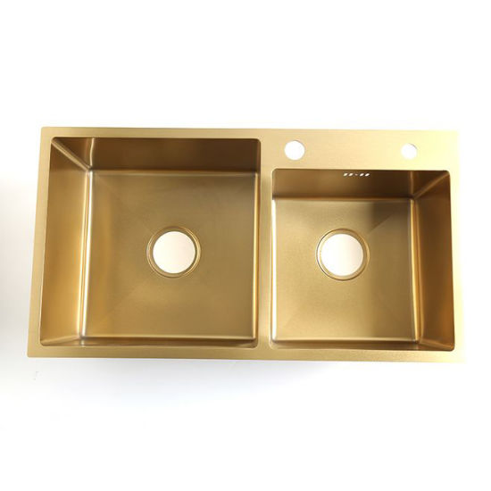 "30""*16"" Vessel Sink Nano Golden Color Coating 20 Gauge Double Bowl Drop-in Kitchen Sink pictures & photos"