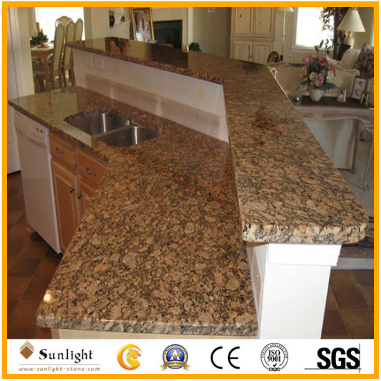 Full Bullnose Solid Surface Giallo Fiorito Granite Kitchen Countertop