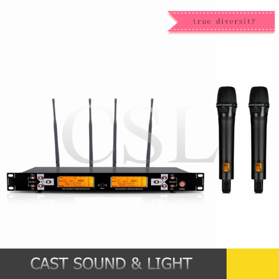 200m True Diversity Reception UHF Wireless Audio Karaoke Microphone pictures & photos