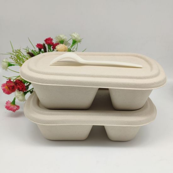 100% Biodegradable 2 Compartment Food Box Take Away Natual Lunch Box with Paper Lid 800ml pictures & photos