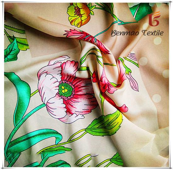Faux Silk Printed Satin Chiffon Fabric for Women Dress