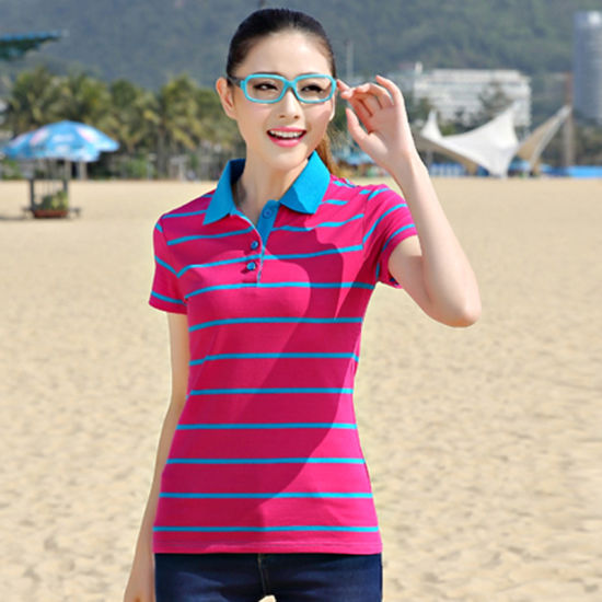 2016 China Factory Wholesale Custom Ladies Stripe Polo Shirts
