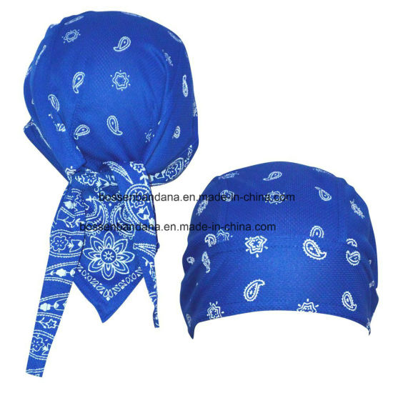 China Factory Produce Customized Logo Printed Promotional Sports Cotton Red Paisley Biker Bandana Cap pictures & photos