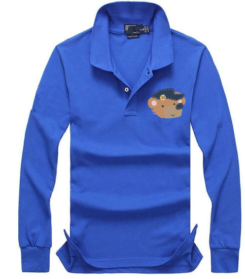 High Quality Mens Embroidered Cotton Polo T Shirt Long Sleeve