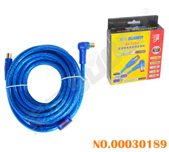 China Transparent Blue Wire 5m Elbow to Straight TV AV Cable with ...