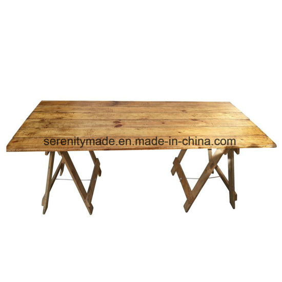China Outdoor Rustic Wood Trestle Dining Table For Event Wedding