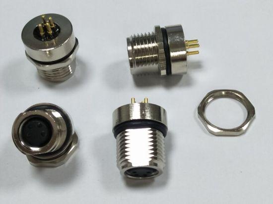 Female Panel Receptacle M8 3pin 4pin 5pin 6pin 8pin PCB Front Mounting CNC Screw