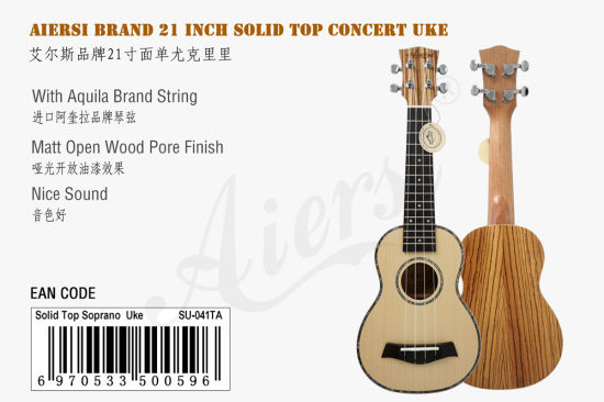 21 Inch Soprano Solid Spruce Zebrawood Body Ukulele for Sale pictures & photos