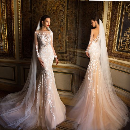 China Long Sleeves Lace Bridal Gowns Champagne Mermaid Wedding Dress ...