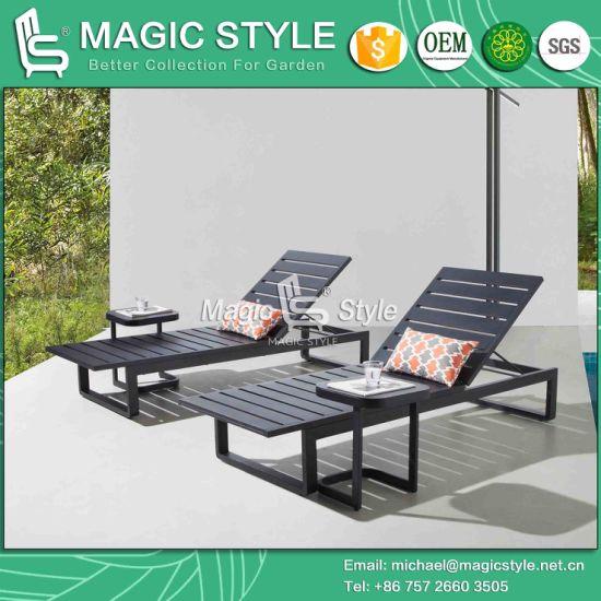 Amazing Outdoor Aluminum Sunbed Garden Aluminum Slat Sunlounger Pool Daybed  With Cushion Aluminum Side Table Deck Daybed With Cushion With Alu Sthle  Garten