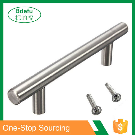 Modern Satin Nickel Stainless Steel Handles For Cabinets Cupboards And Drawers T Bar Pulls