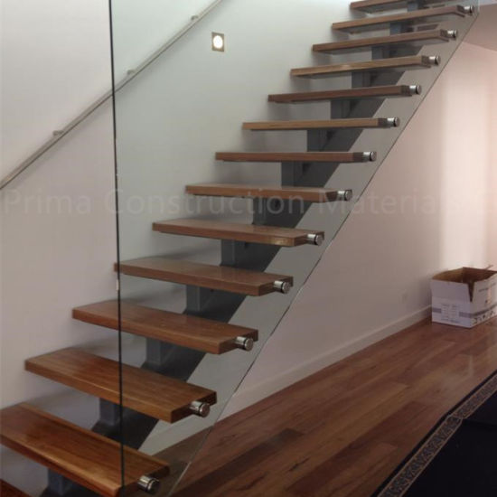China Customized Single Stringer Wood Treads Floating Stairs