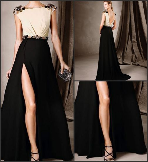 351223f8496c5 Black Cream Evening Dress Satin Beaded Cocktail Party Dress 2018 E272