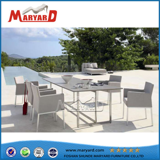 Hot Stainless Steel Frame Outdoor Furniture Table Set