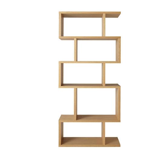 Furniture Home Office Furniture S Shape Oak Wooden Bookshelf Bookcase