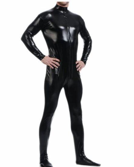 Metallic Lycra Bodysuit Zentai Without Hood (BLACK)